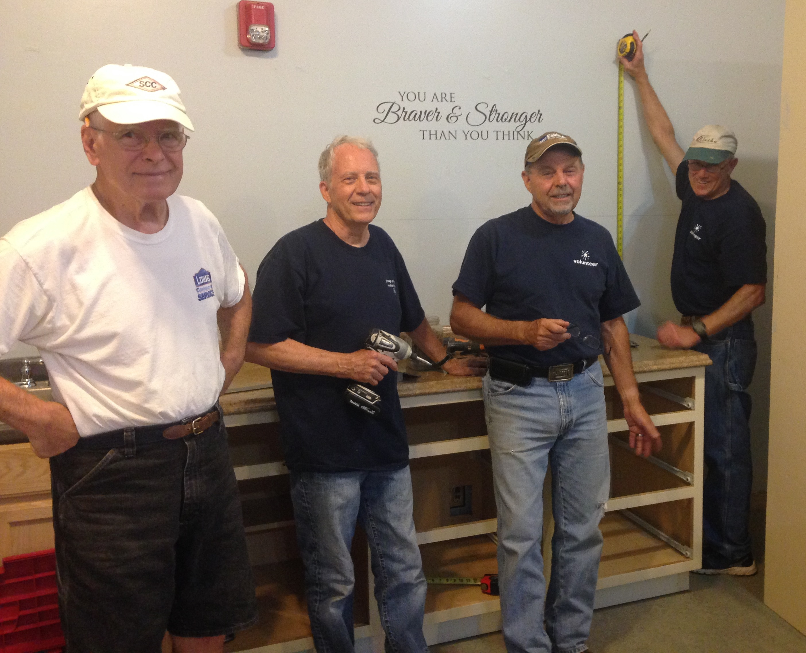 Volunteers from Mountain Park United Methodist Church installed cabinets at SaltLight Center.